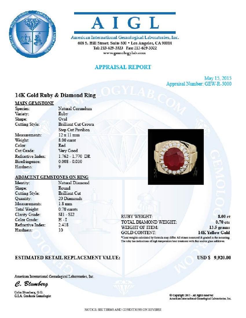 14k Gold 8.00ct Ruby 0.70ct Diamond Mens Ring - 4
