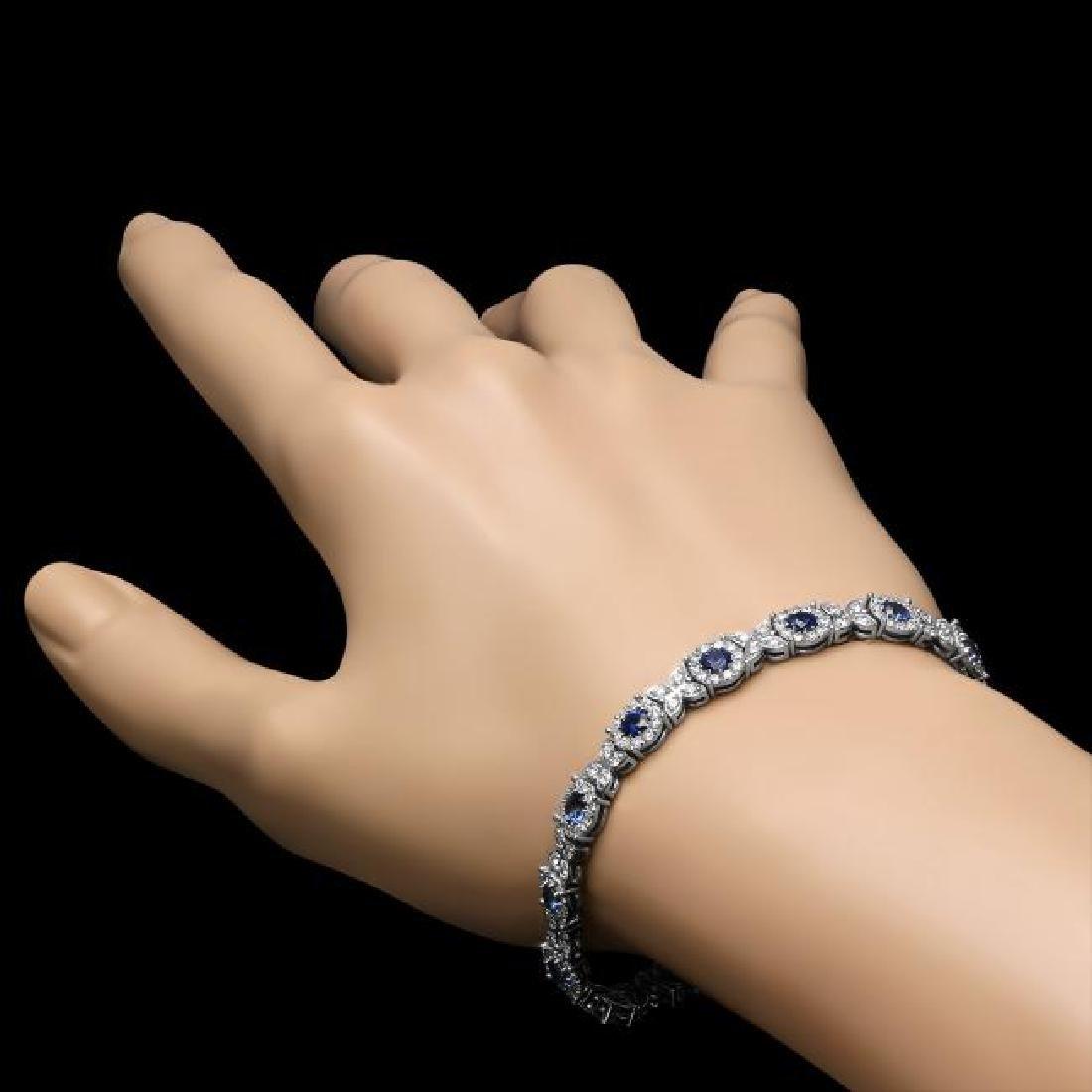 14K Gold 5.69ct Sapphire 3.88ct Diamond Bracelet - 3