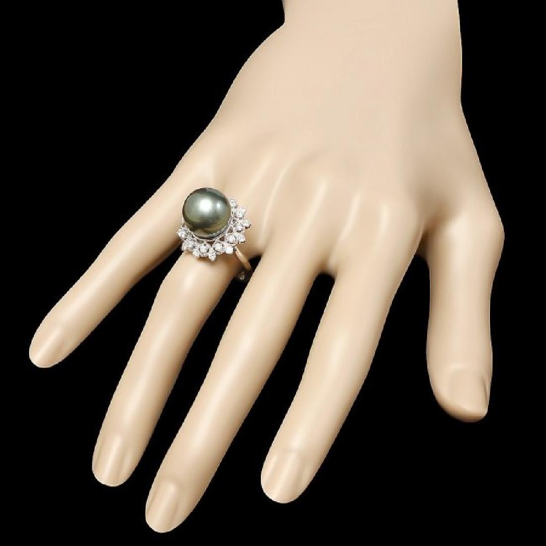14k White Gold 12.5mm Pearl 0.60ct Diamond Ring - 3