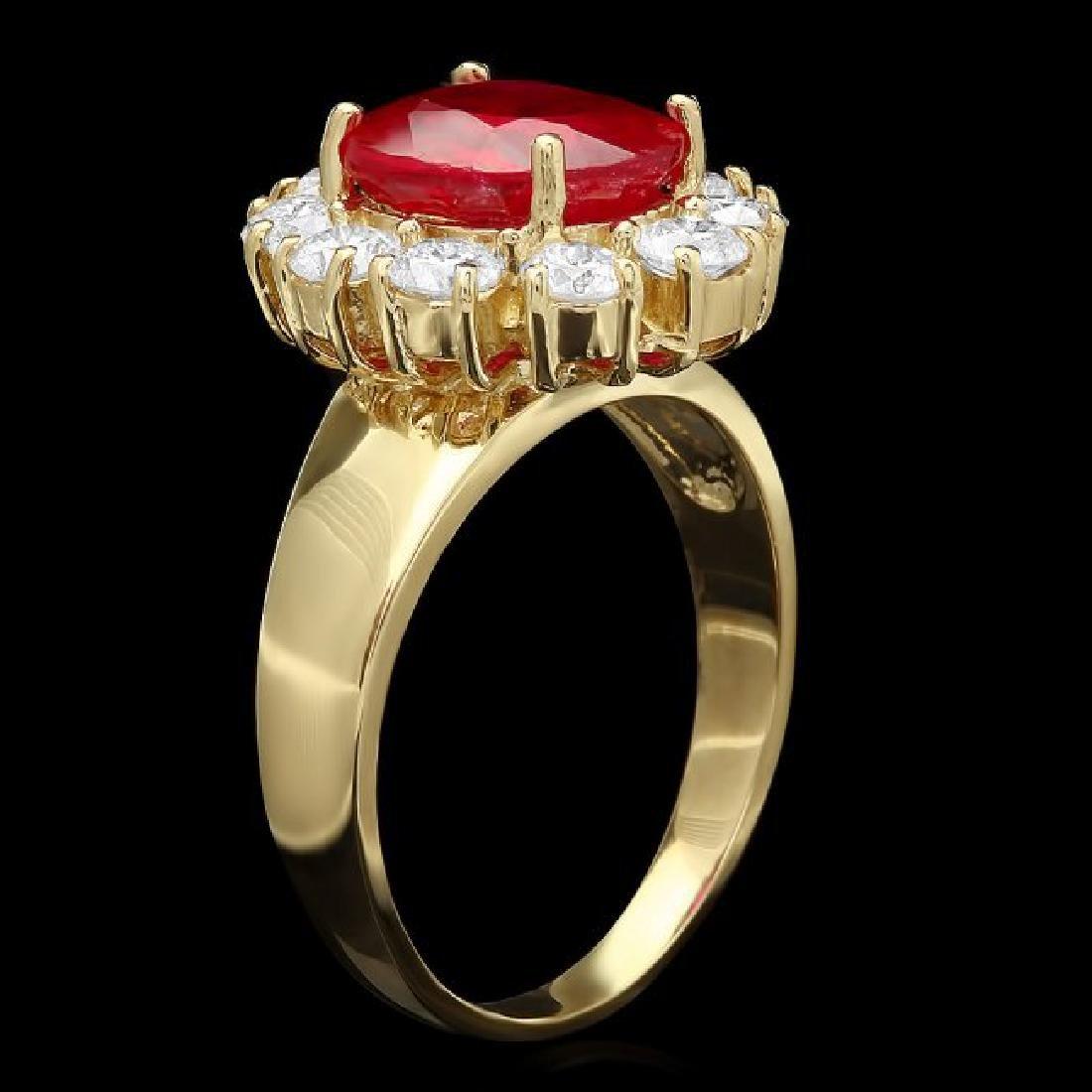 14k Yellow Gold 3.50ct Ruby 1.30ct Diamond Ring - 2
