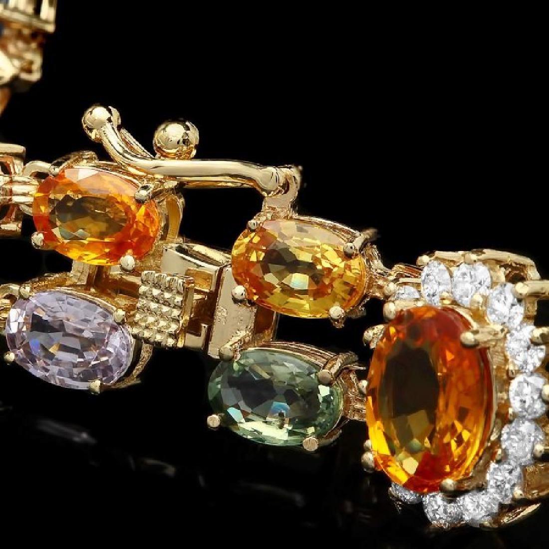 14k Gold 26.81ct Sapphire 1.50ct Diamond Bracelet - 3