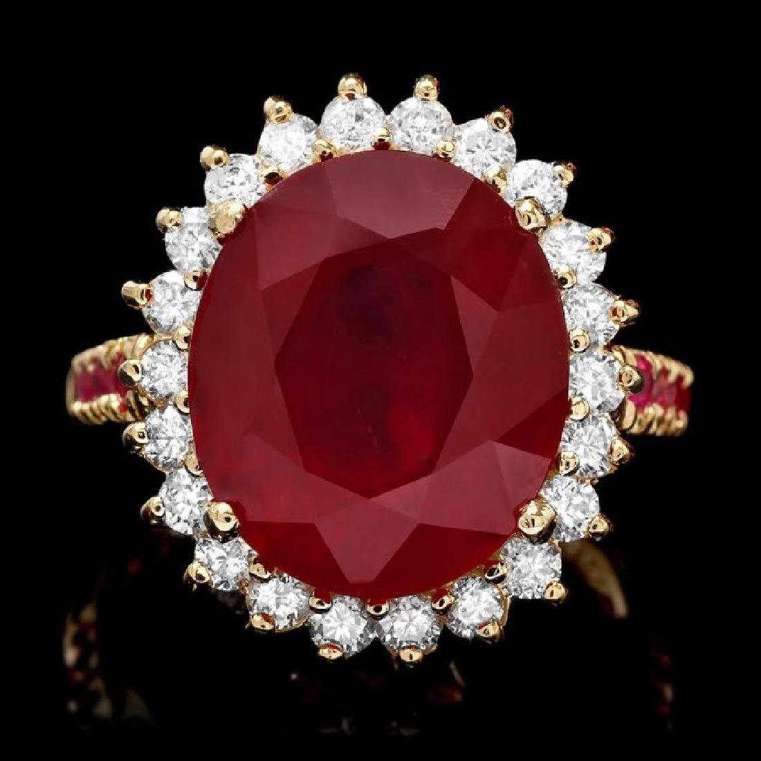 14k Yellow Gold 10.3ct Ruby 0.70ct Diamond Ring
