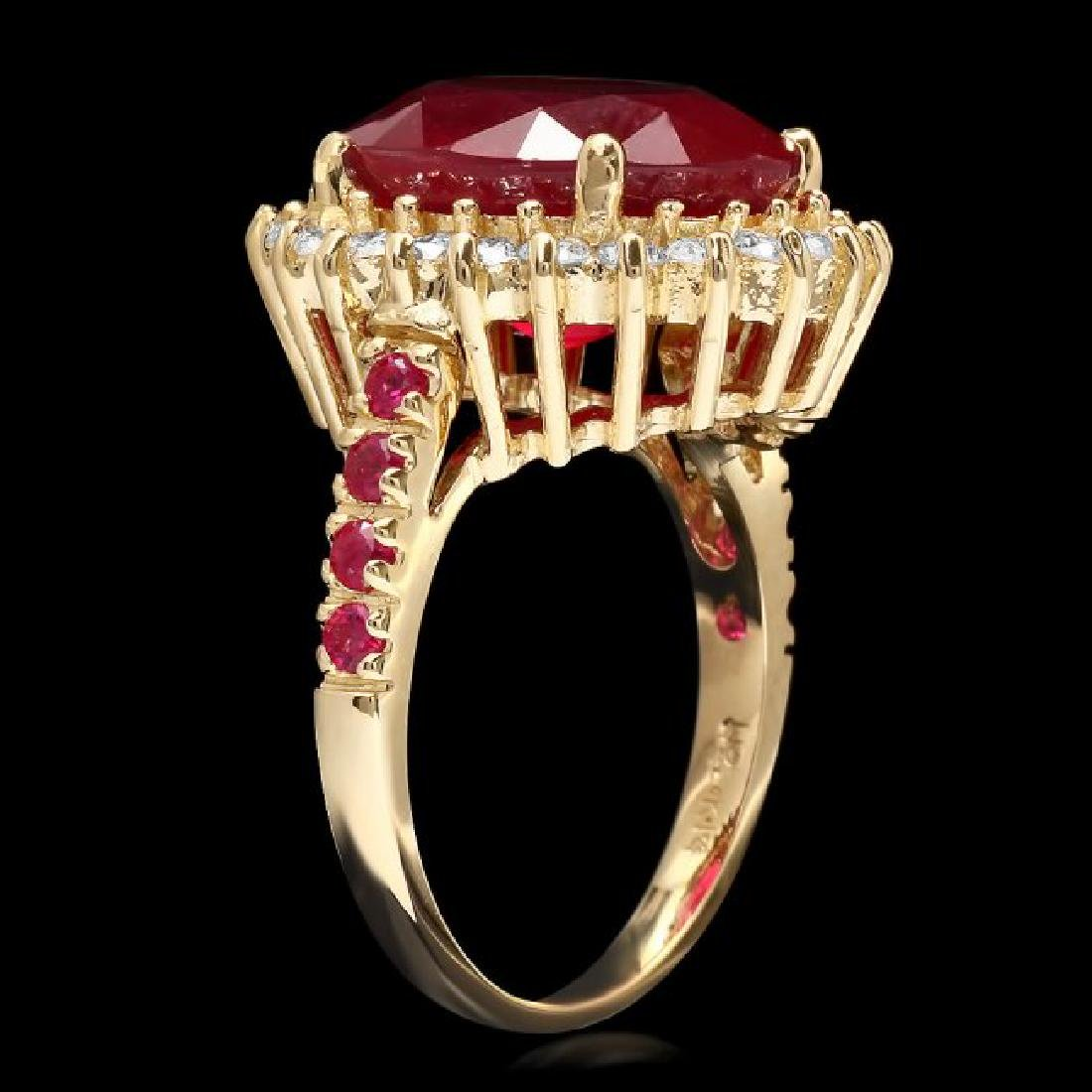 14k Yellow Gold 10.3ct Ruby 0.70ct Diamond Ring - 2