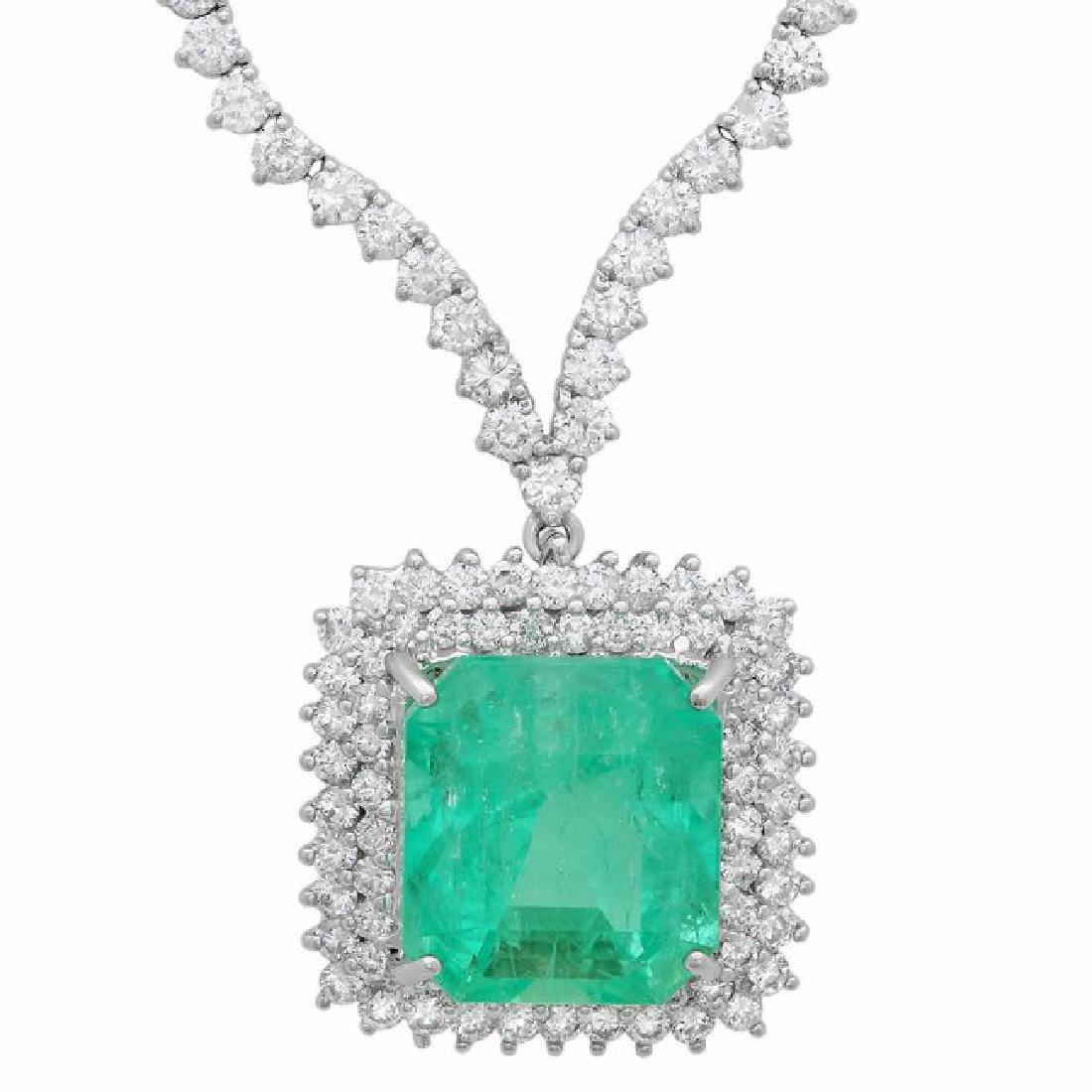 18k Gold 17.00ct Emerald 10.70ct Diamond Necklace - 3