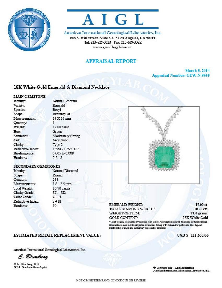 18k Gold 17.00ct Emerald 10.70ct Diamond Necklace - 7