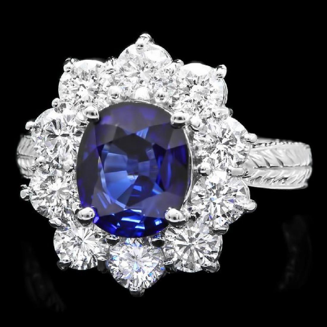 14k White Gold 2.50ct Sapphire 2ct Diamond Ring