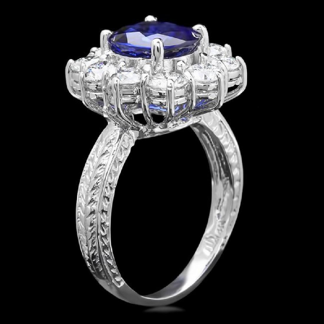 14k White Gold 2.50ct Sapphire 2ct Diamond Ring - 2
