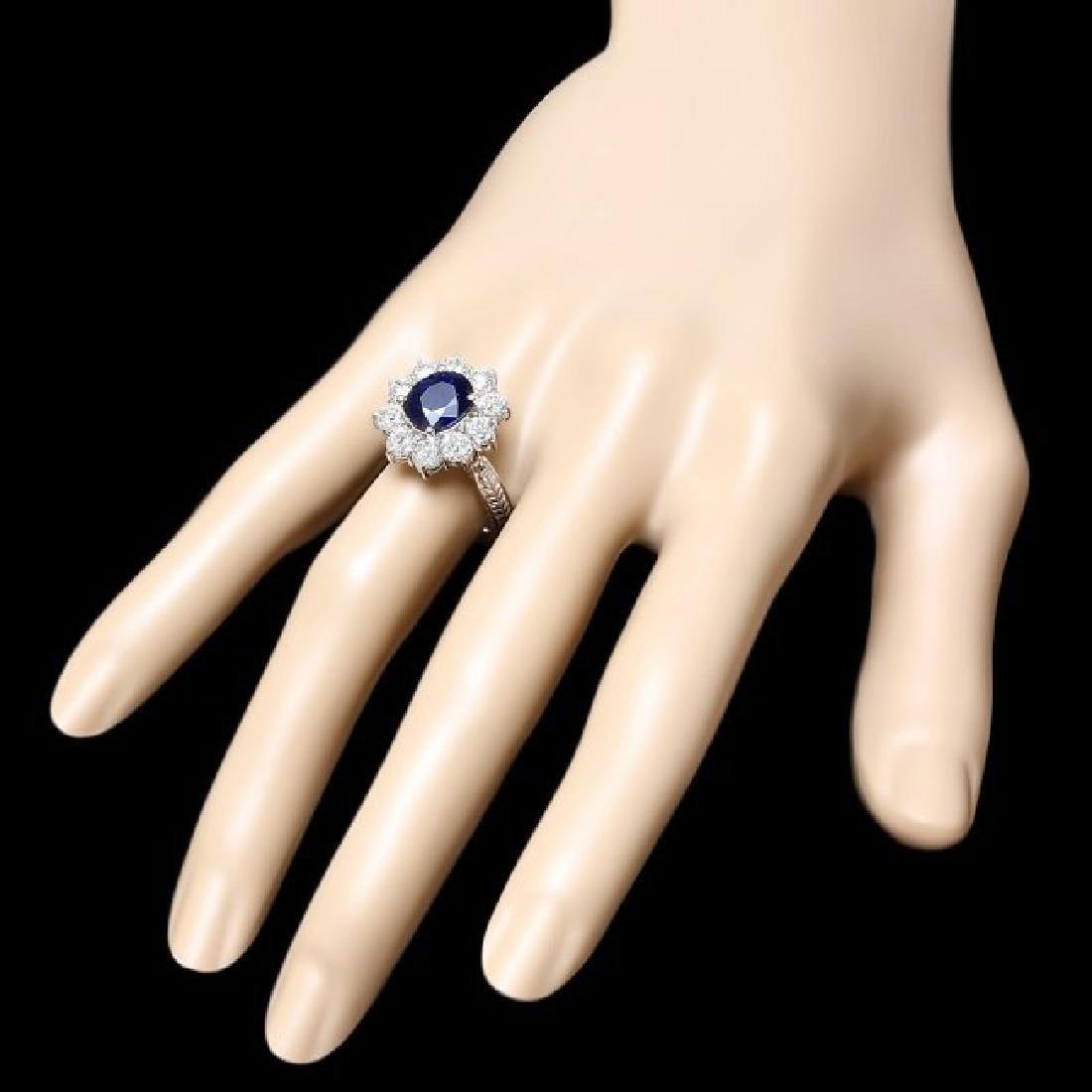 14k White Gold 2.50ct Sapphire 2ct Diamond Ring - 3