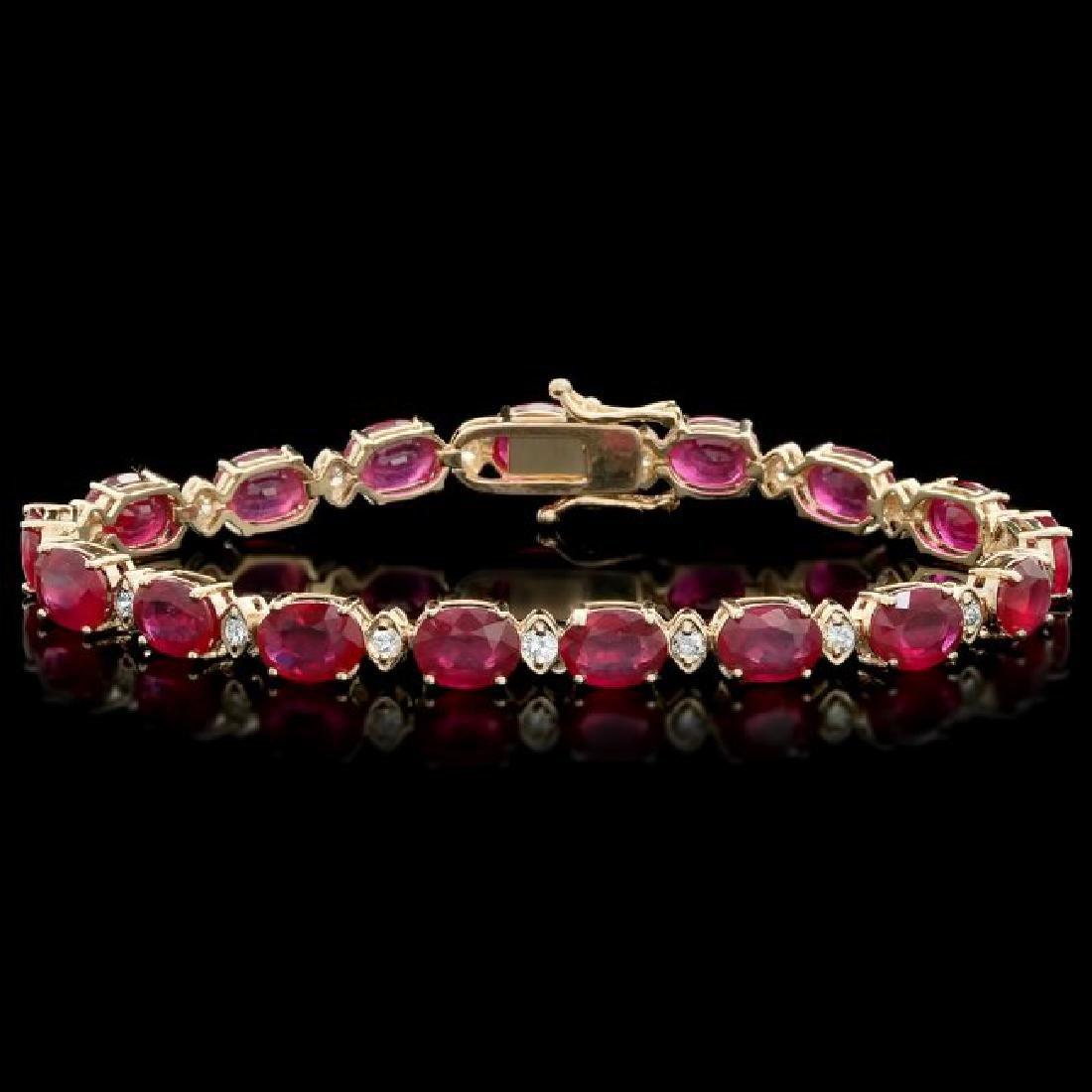 14k Gold 25.00ct Ruby 1.10ct Diamond Bracelet