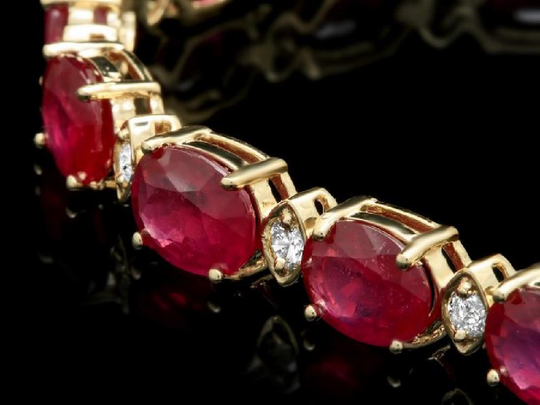 14k Gold 25.00ct Ruby 1.10ct Diamond Bracelet - 2