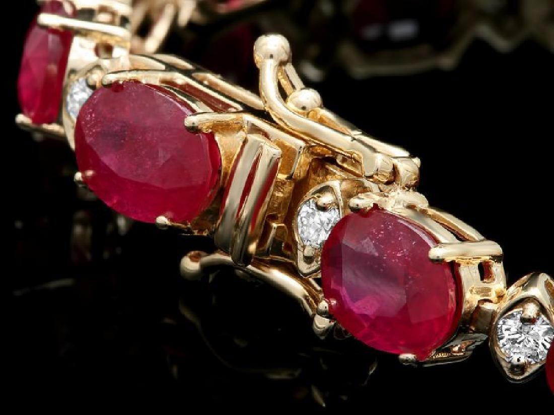 14k Gold 25.00ct Ruby 1.10ct Diamond Bracelet - 3