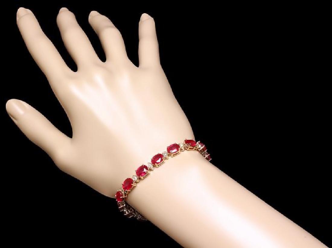14k Gold 25.00ct Ruby 1.10ct Diamond Bracelet - 4