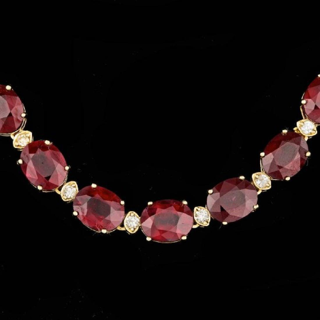 18k Gold 115.00ct Ruby 1.85ct Diamond Necklace - 2