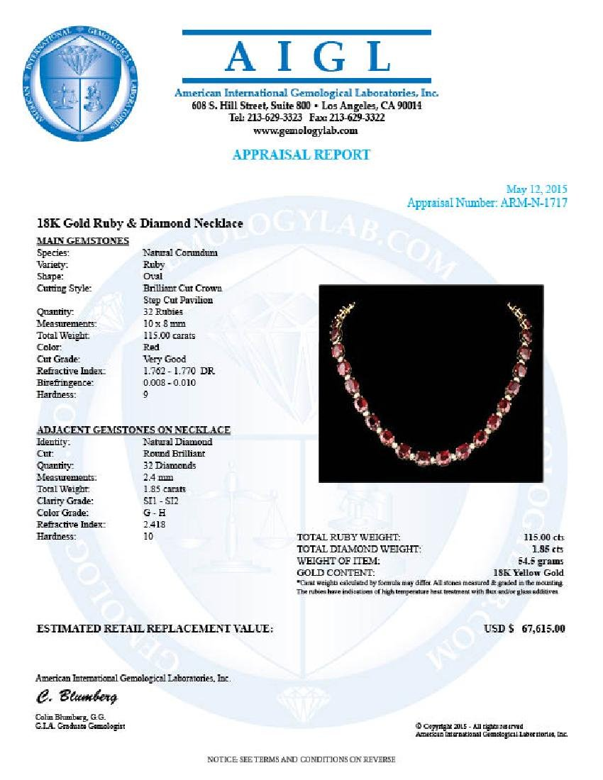 18k Gold 115.00ct Ruby 1.85ct Diamond Necklace - 6