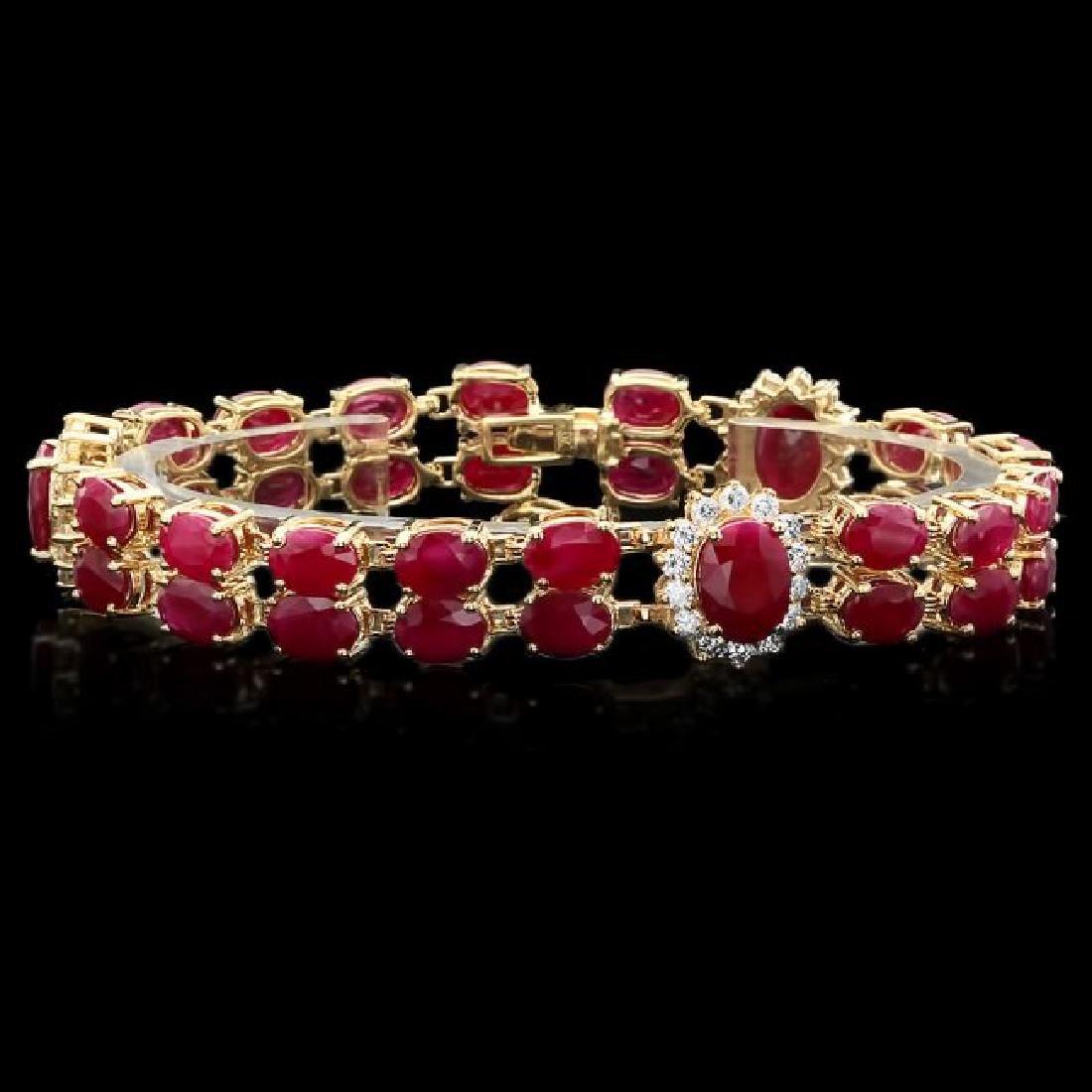 14k Gold 36.0ct Ruby 1.90ct Diamond Bracelet