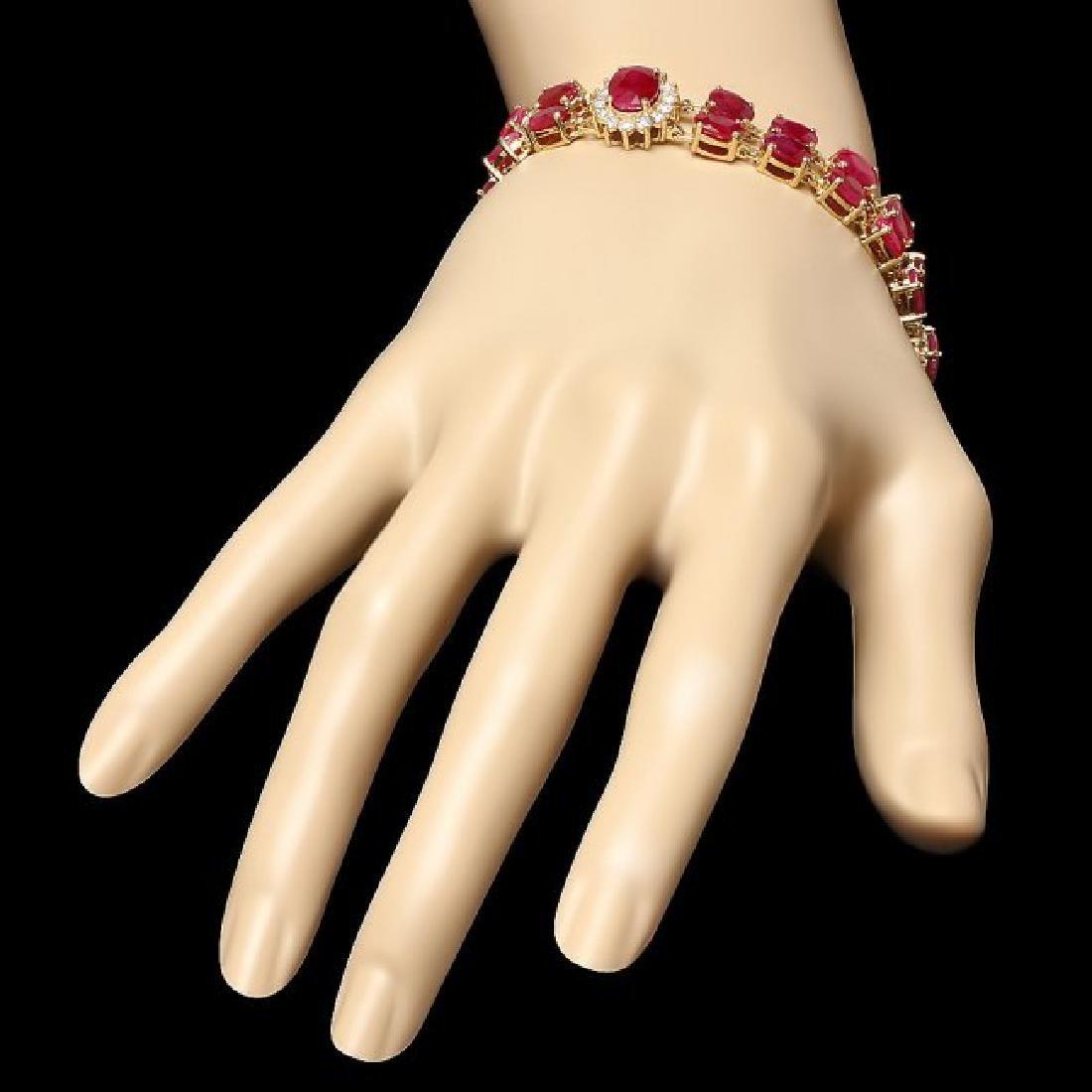 14k Gold 36.0ct Ruby 1.90ct Diamond Bracelet - 6