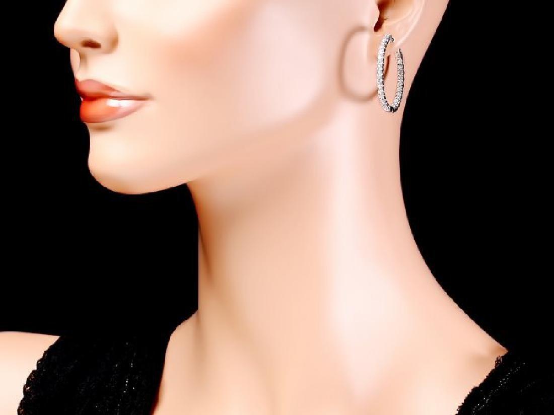 14k White Gold 2.80ct Diamond Earrings - 4