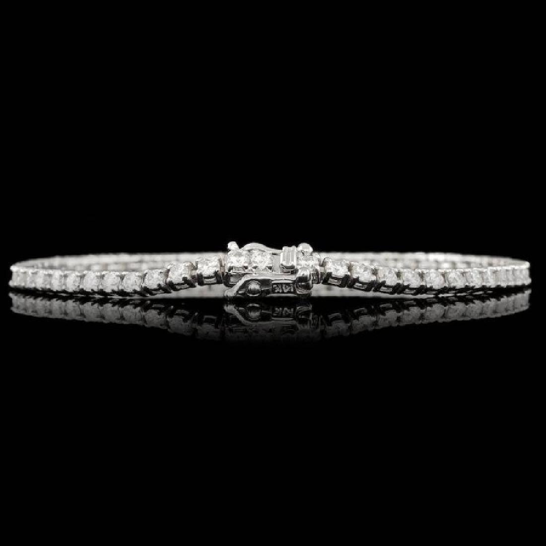 14k White Gold 3.70ct Diamond Bracelet - 2