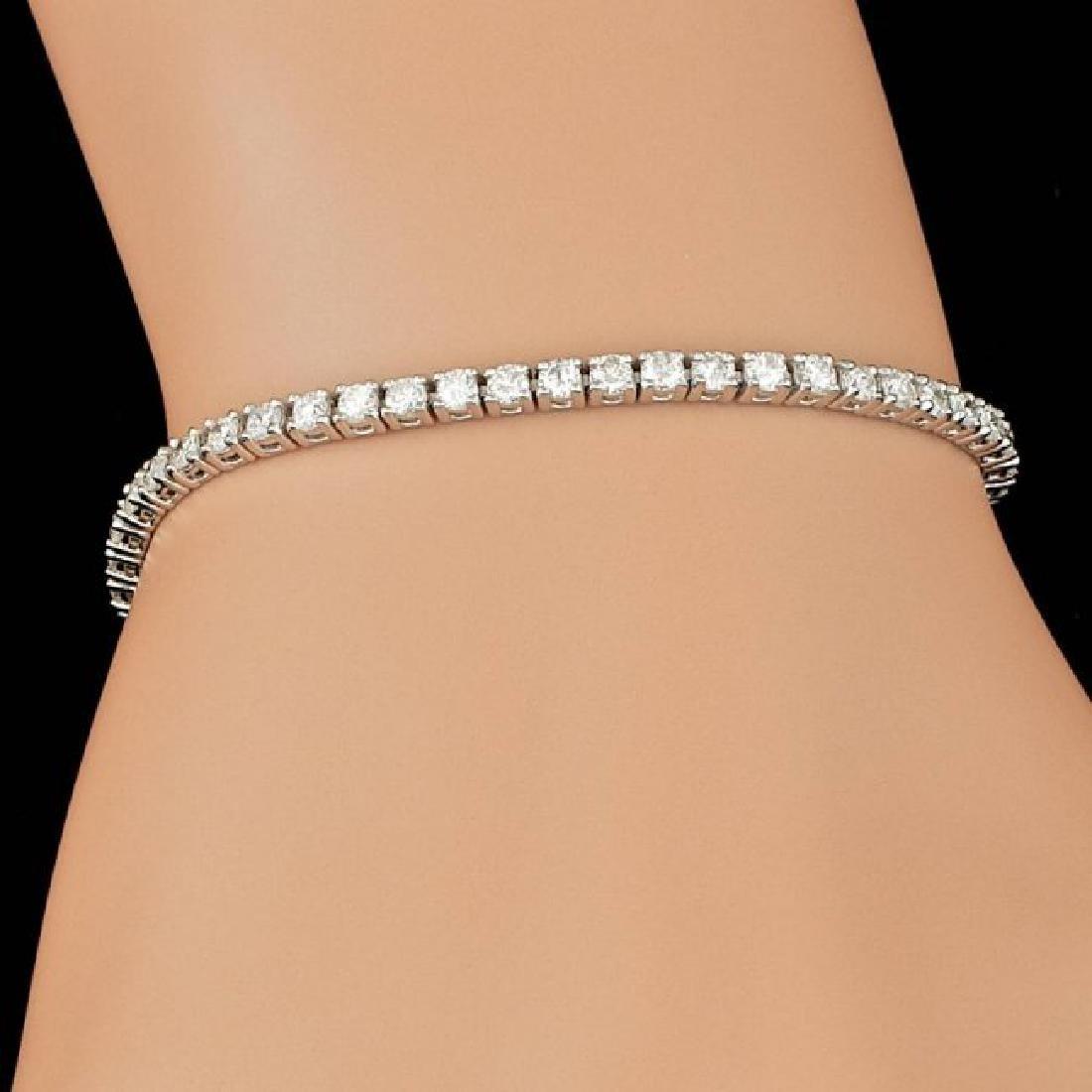 14k White Gold 3.70ct Diamond Bracelet - 4