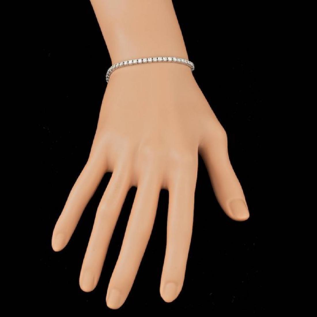 14k White Gold 3.70ct Diamond Bracelet - 5