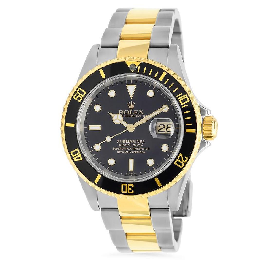 18K Gold Rolex SS Submariner 40mm Wristwatch