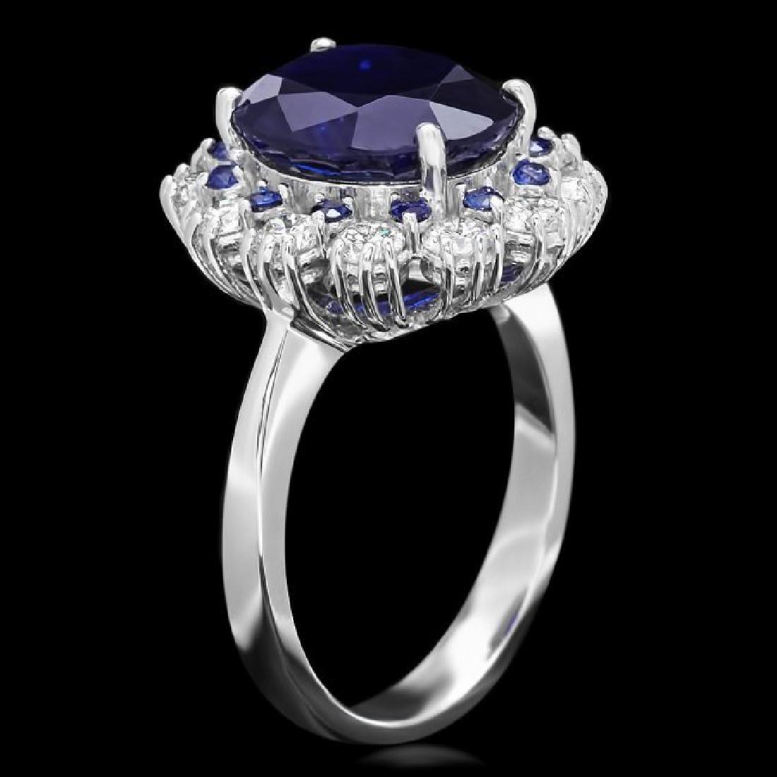 14k White Gold 6ct Sapphire 1.10ct Diamond Ring - 2