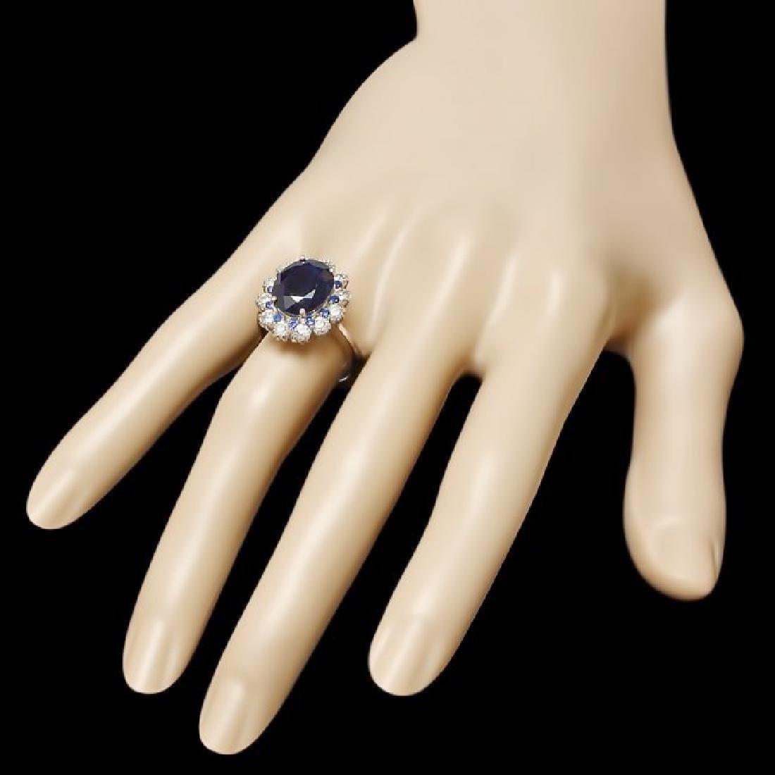 14k White Gold 6ct Sapphire 1.10ct Diamond Ring - 3