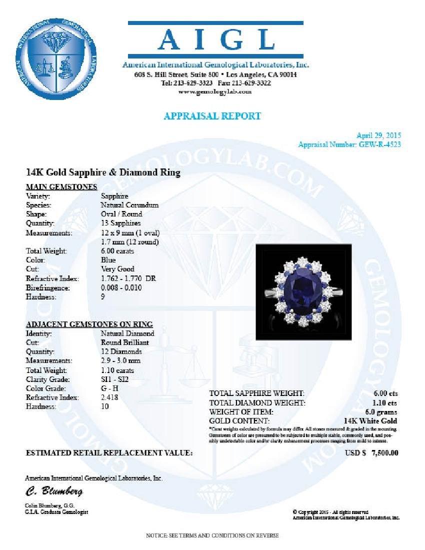 14k White Gold 6ct Sapphire 1.10ct Diamond Ring - 4