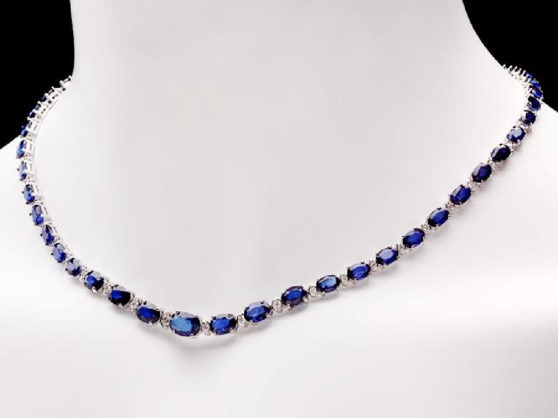 14k Gold 29ct Sapphire 1.10ct Diamond Necklace - 2