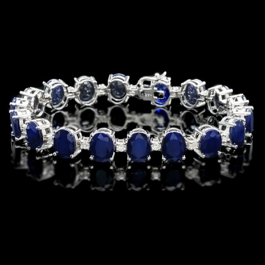 14k Gold 40ct Sapphire 1.35ct Diamond Bracelet