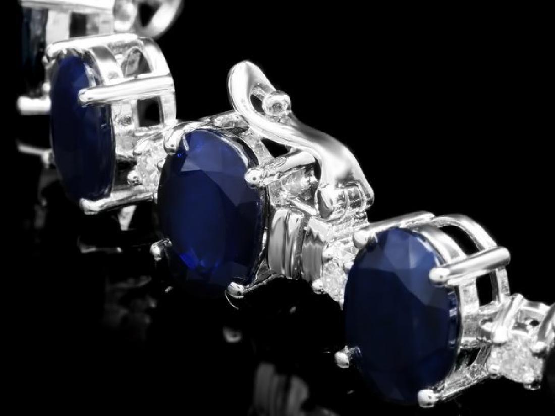 14k Gold 40ct Sapphire 1.35ct Diamond Bracelet - 2