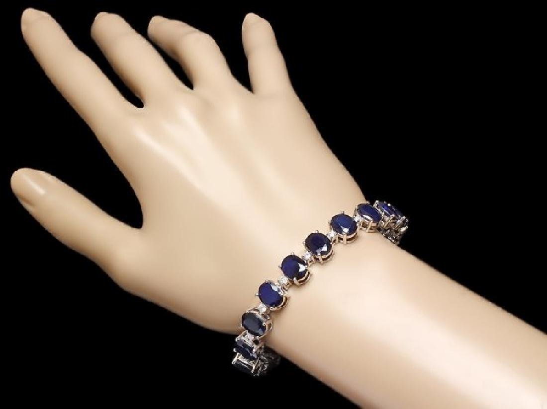 14k Gold 40ct Sapphire 1.35ct Diamond Bracelet - 3
