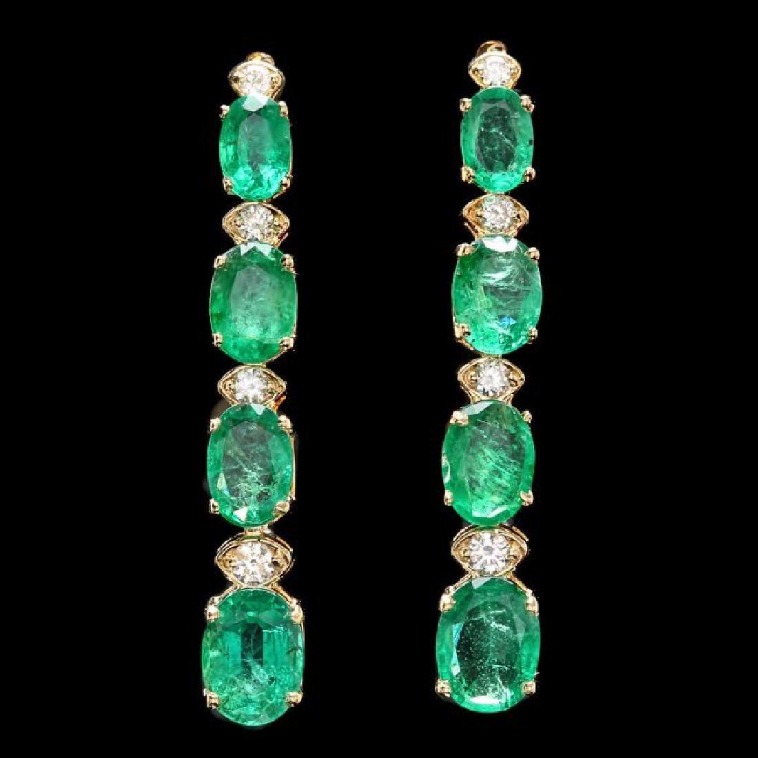 14k Gold 6.5ct Emerald .35ct Diamond Earrings
