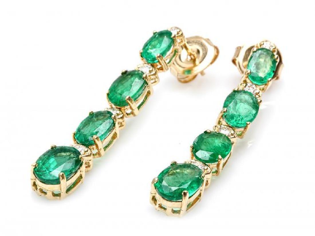 14k Gold 6.5ct Emerald .35ct Diamond Earrings - 2