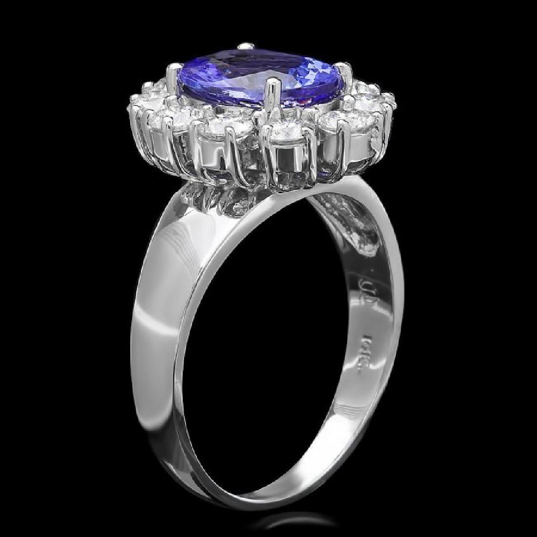 14k Gold 2.50ct Tanzanite 1.25ct Diamond Ring - 2