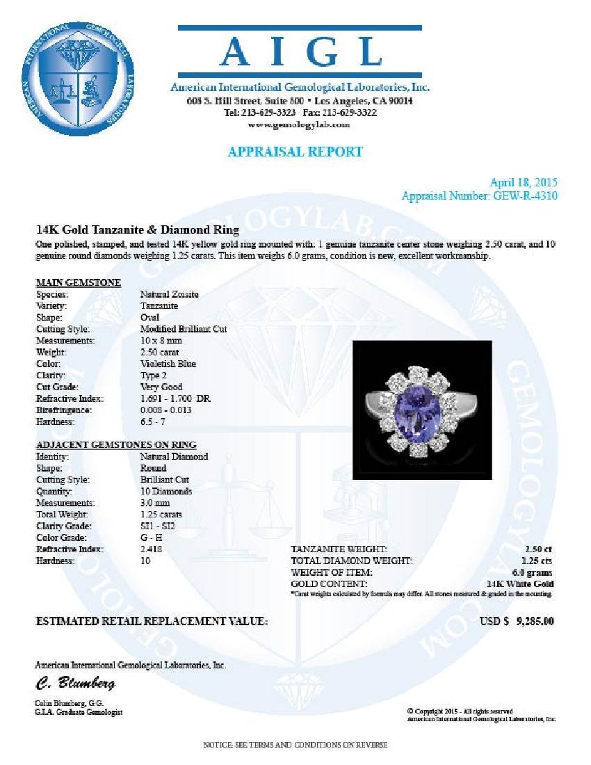 14k Gold 2.50ct Tanzanite 1.25ct Diamond Ring - 4
