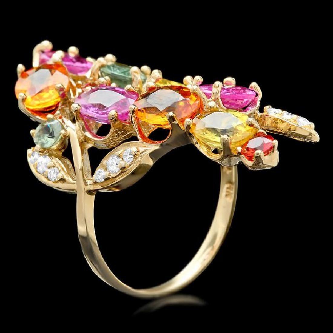 14k Gold 8.8ct Sapphire 0.20ct Diamond Ring - 2
