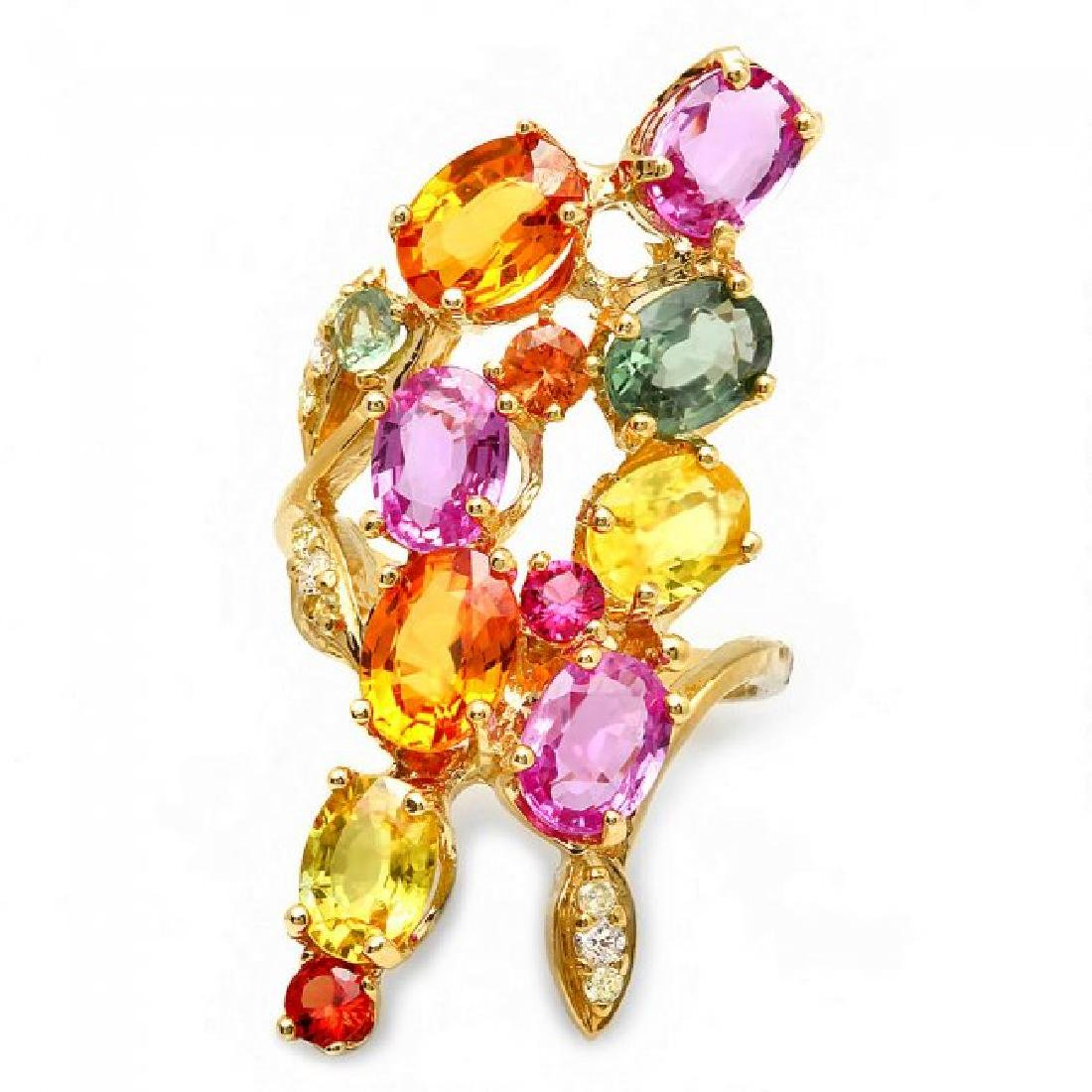 14k Gold 8.8ct Sapphire 0.20ct Diamond Ring - 3