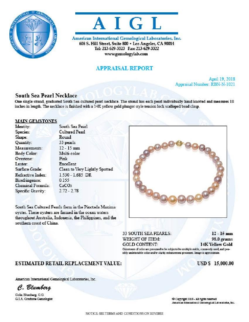 12-15mm Natural South Sea Pearl Necklace - 5