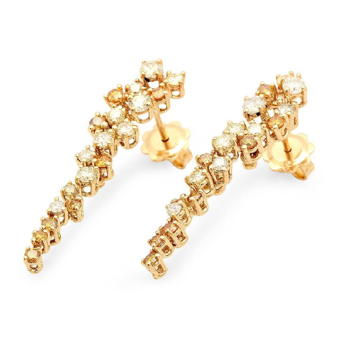 14K Gold 2.20cts Diamond Earrings - 2