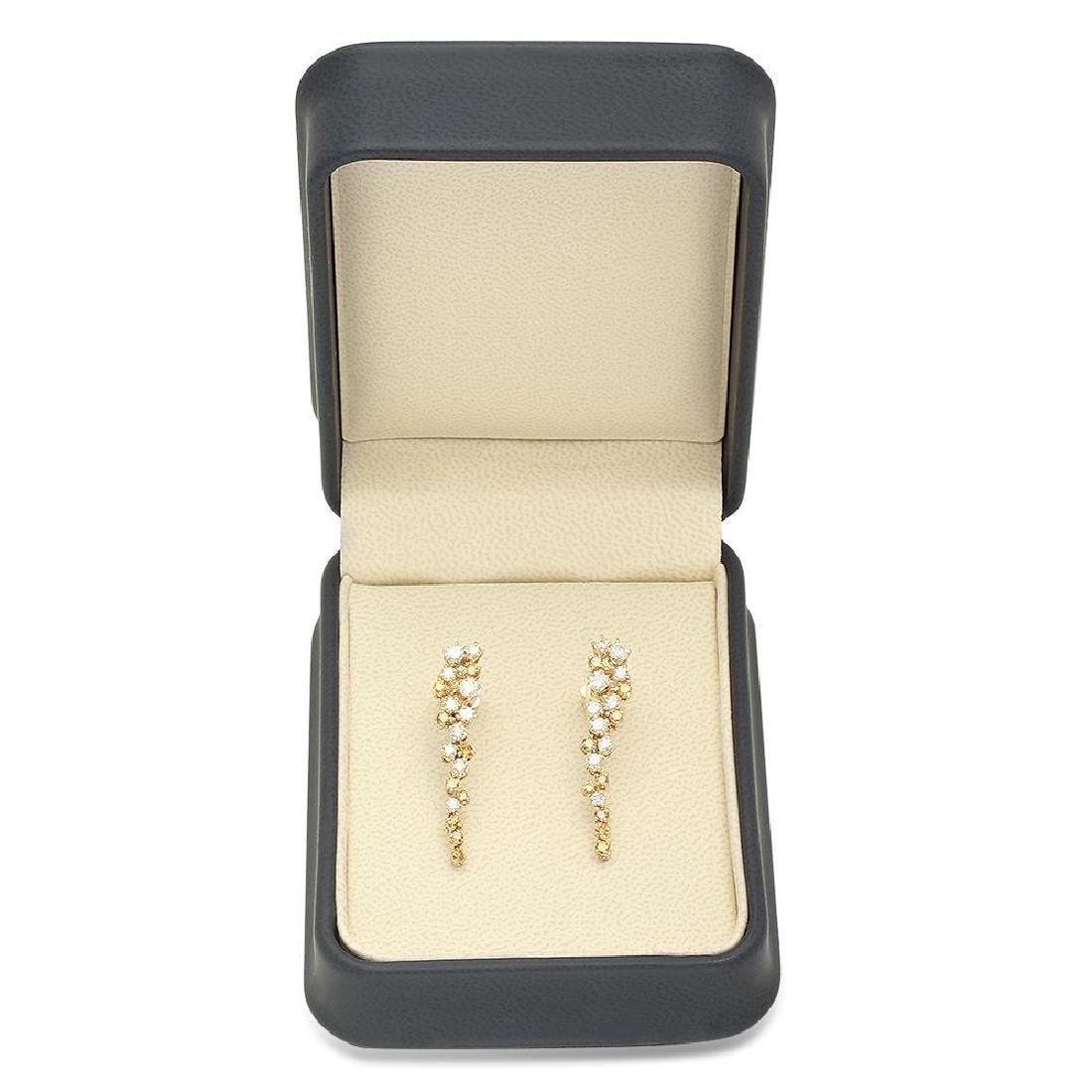 14K Gold 2.20cts Diamond Earrings - 3