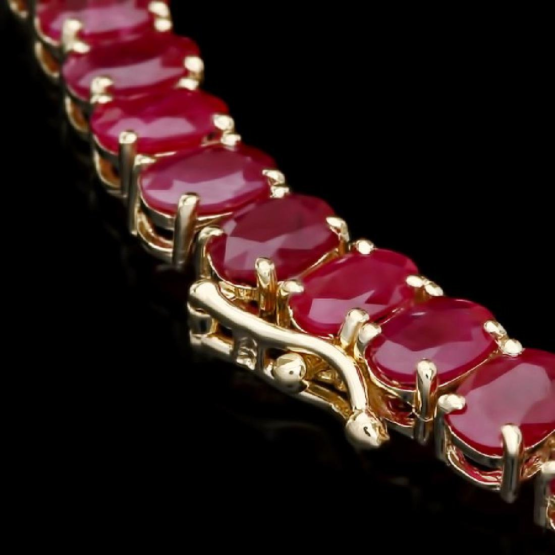 14k Yellow Gold 58.5ct Ruby 1ct Diamond Necklace - 3