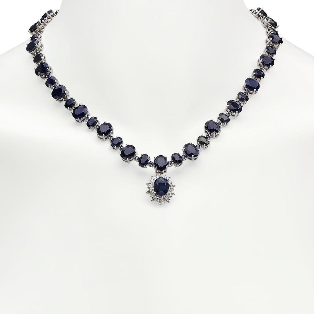 14K Gold 49.50ct Sapphire 1.70ct Diamond Necklace