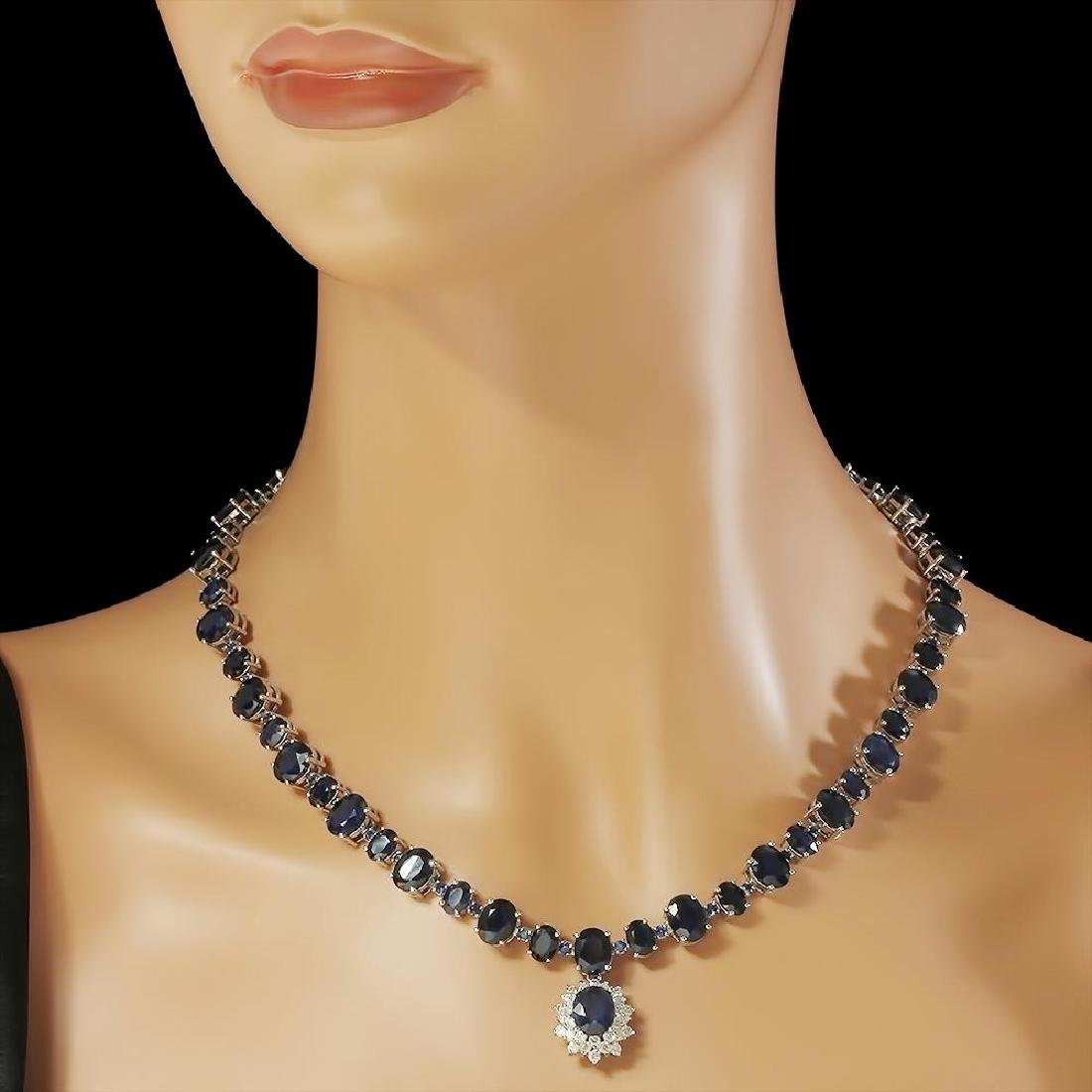 14K Gold 49.50ct Sapphire 1.70ct Diamond Necklace - 3