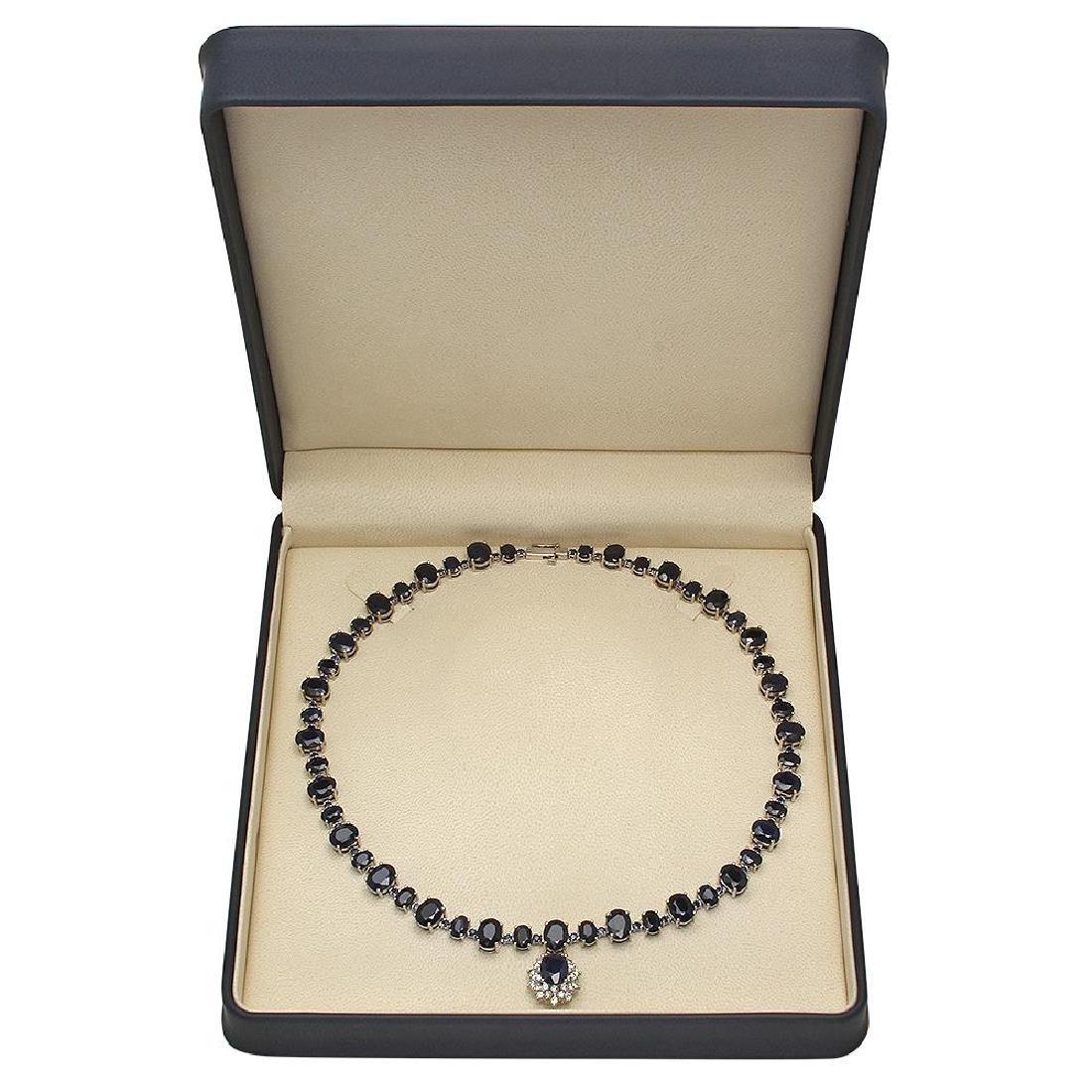 14K Gold 49.50ct Sapphire 1.70ct Diamond Necklace - 4