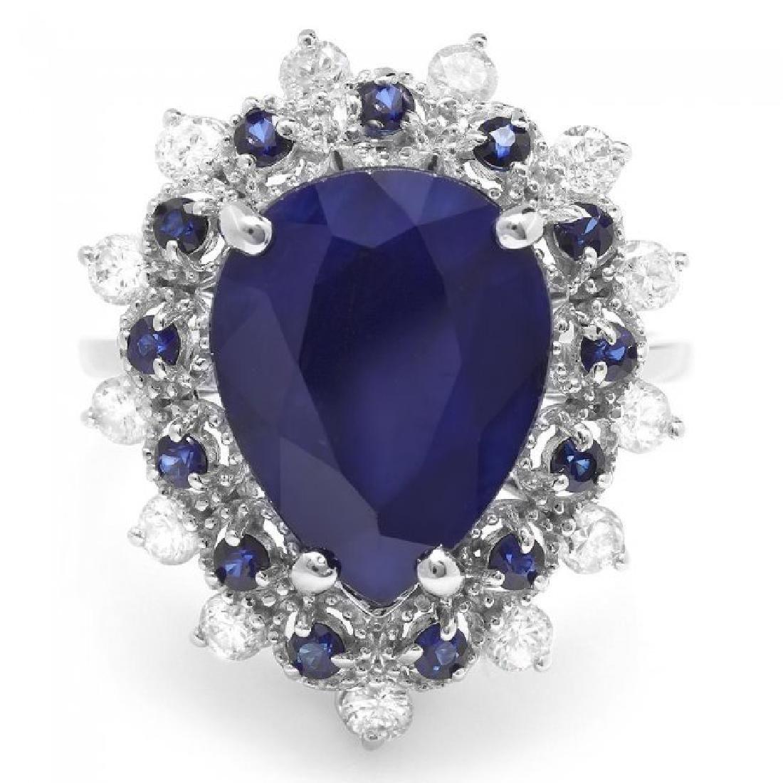 14k Gold 5.55ct Sapphire 0.55ct Diamond Ring - 2