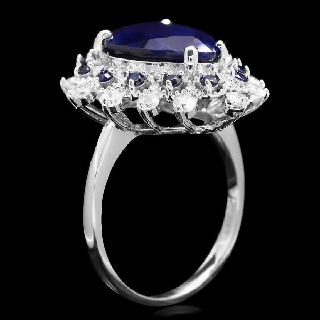 14k Gold 5.55ct Sapphire 0.55ct Diamond Ring - 3
