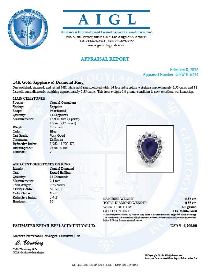 14k Gold 5.55ct Sapphire 0.55ct Diamond Ring - 5