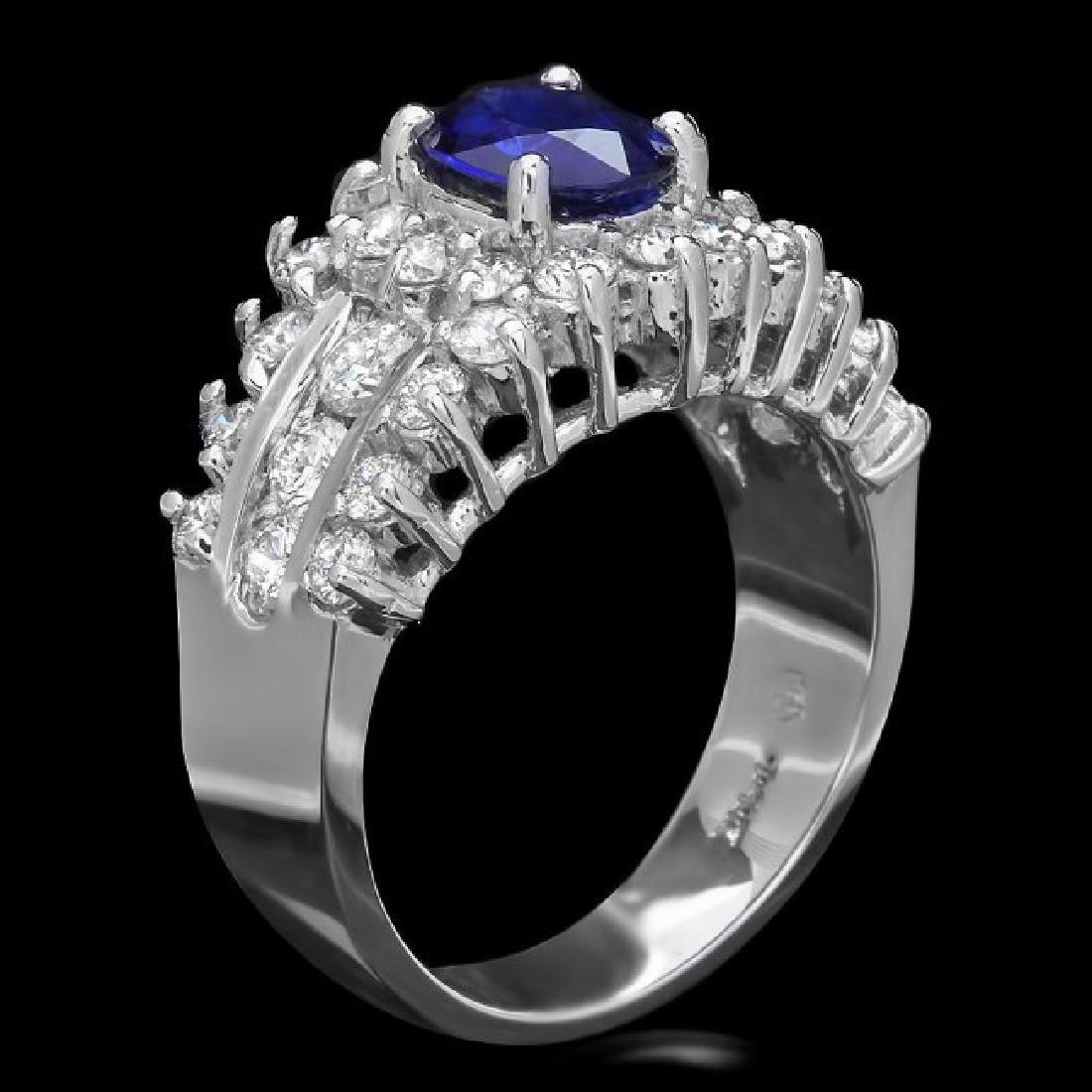 14k Gold 1.00ct Sapphire 1.55ct Diamond Ring - 2
