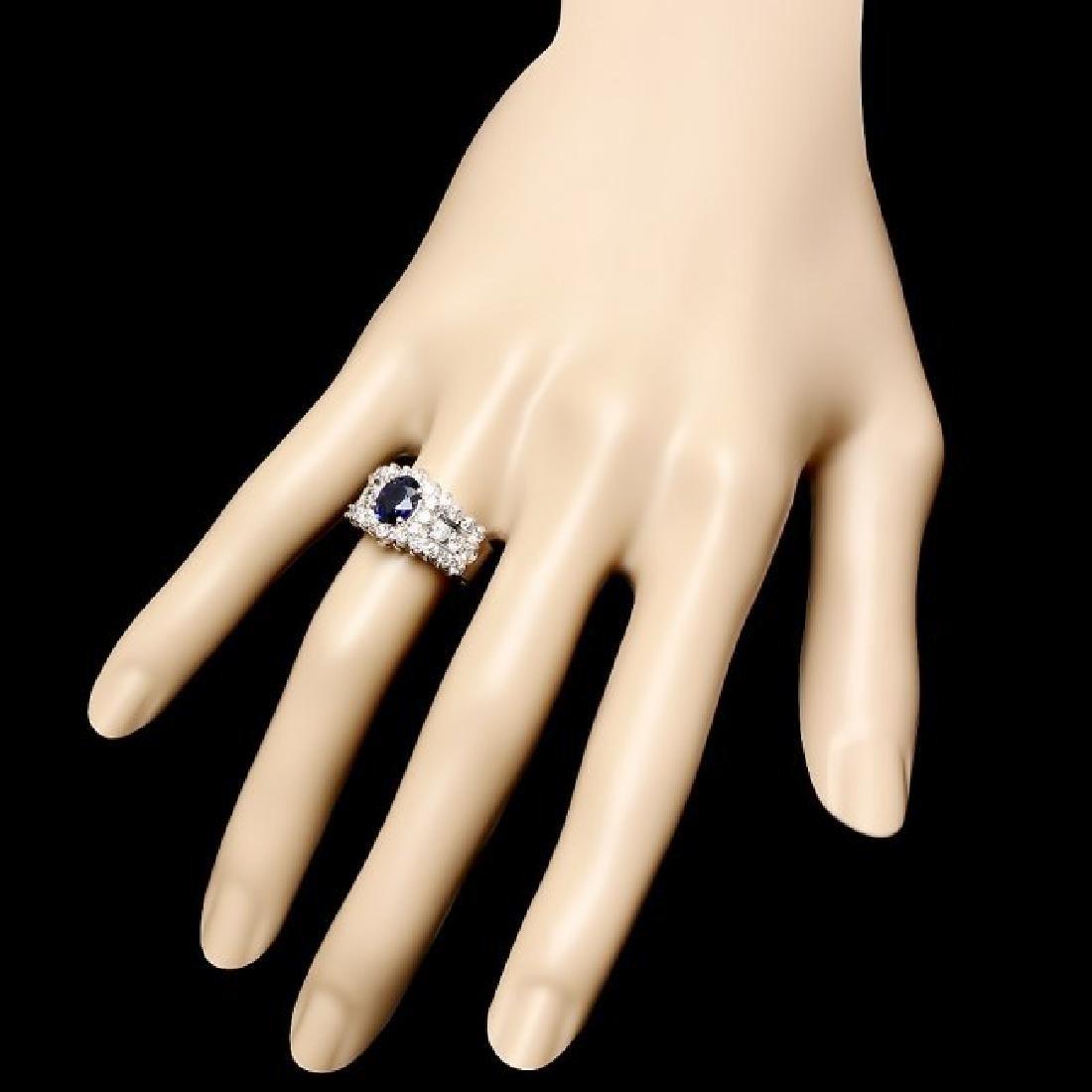 14k Gold 1.00ct Sapphire 1.55ct Diamond Ring - 3